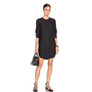JAMES PERSE Sanded Satin Long Sleeve Shirt Dress